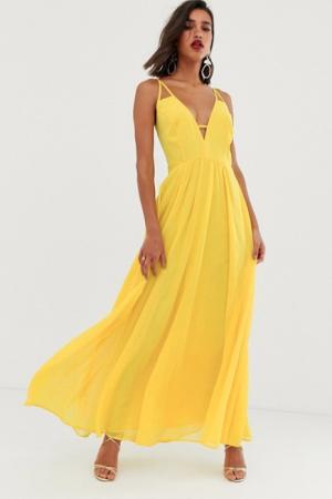 Gele maxi-jurk met fijne schouderbandjes