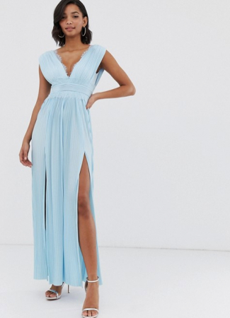 Babyblauwe maxi-jurk met V-hals en hoge split