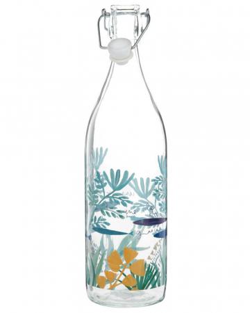 Glazen fles met zeeprint