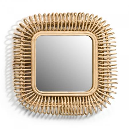 Vierkante spiegel in rotan 'Tarsile'