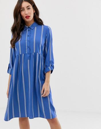 Shirt dress met streepjes