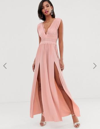 Maxi-jurk met kanten details en split