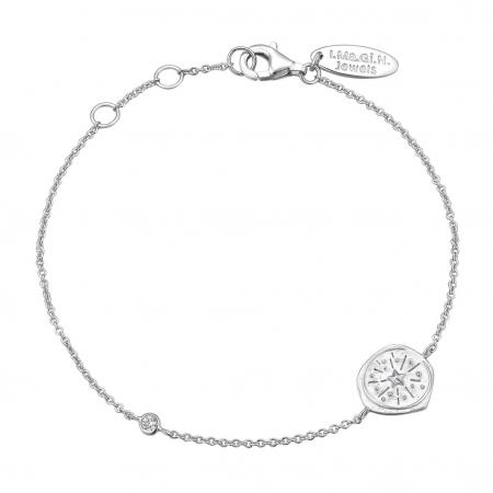 Bracelet en argent avec médaillon étoilé et pierre blanche