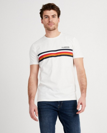 Wit T-shirt 'Flandrien' met strepen
