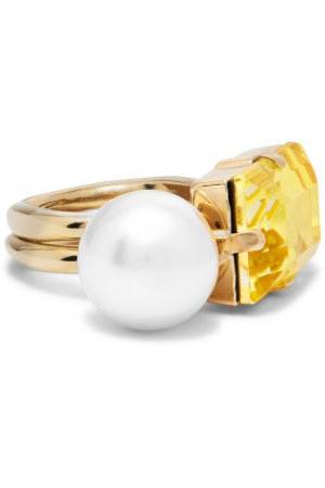 Goudkleurige ring met nepparel en kristal
