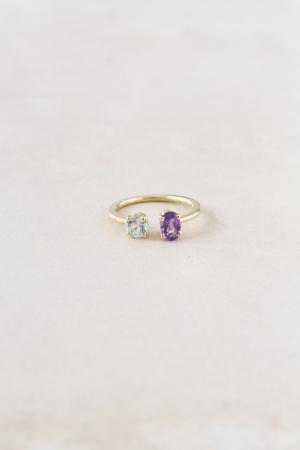 Gouden ring met toermalijn en amethyst