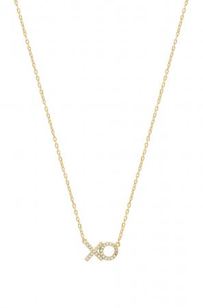 Vergulde halsketting met X en O bezet met kristallen