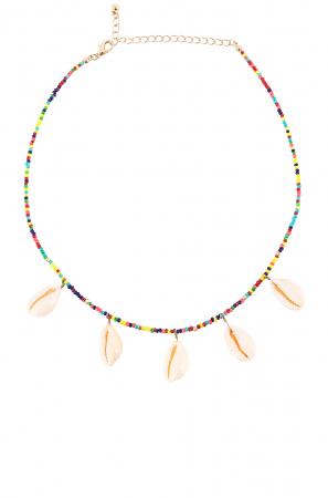 Vergulde halsketting met gekleurde kralen en schelpjes