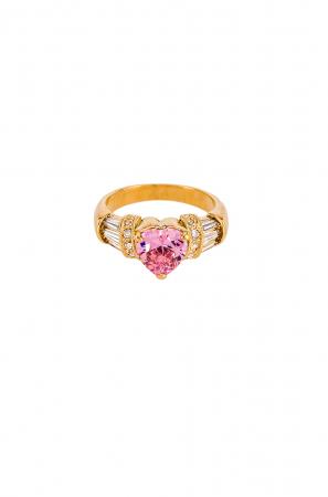 Vergulde ring met roze en kleurloze stenen