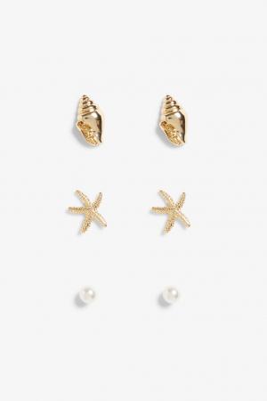 Set van 3 oorbellen (schelpen, zeesterren en nepparels)