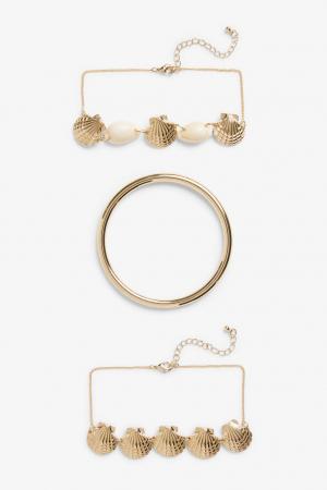 Set van 3 goudkleurige armbanden met schelpen