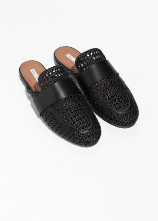 Zwarte loafers uit geweven leer