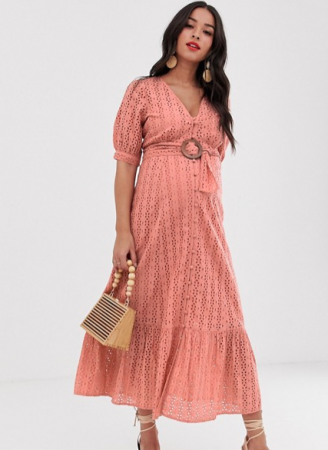 Oudroze maxi-jurk in broderie anglaise met riem