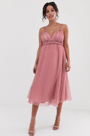 Oudroze midi-jurk in tule