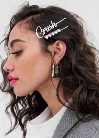 Set van 2 schuifspeldjes met roze hartjes en opschrift 'Crush'