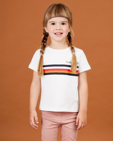 Wit T-shirt 'Little Flandrien' voor meisjes