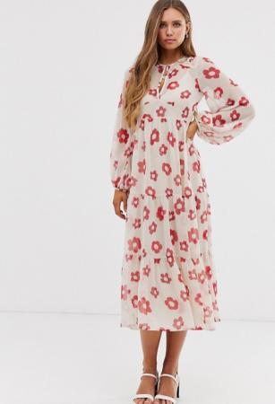 Beige midi-jurk met lange mouwen en rode bloemenprint