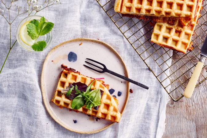 Croquewafel met Passendale Bio, beenham, basilicum en tomaat