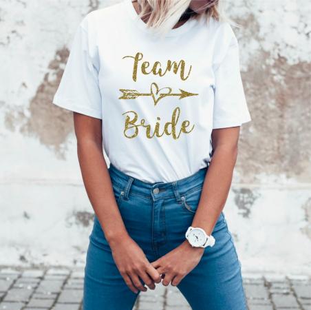 T-shirt met opschrift 'Team Bride'