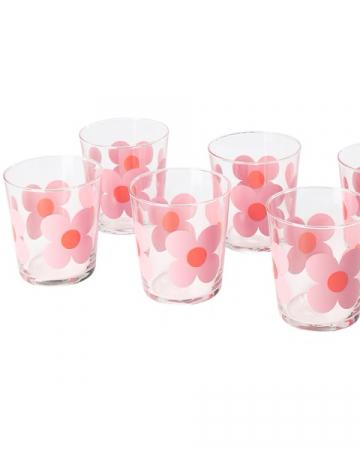 Set van zes glazen met roze bloemen
