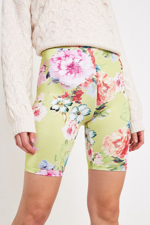 Short style cycliste à fleurs vert