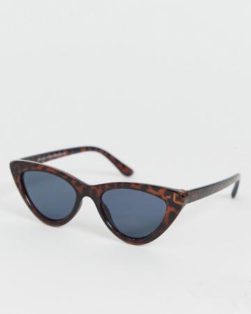 Cat eye-zonnebril in donkerbruine kleur