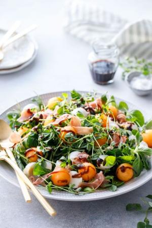 Salade de melon, prosciutto et vinaigre balsamique