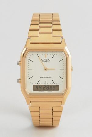 Goudkleurige analoge én digitale horloge