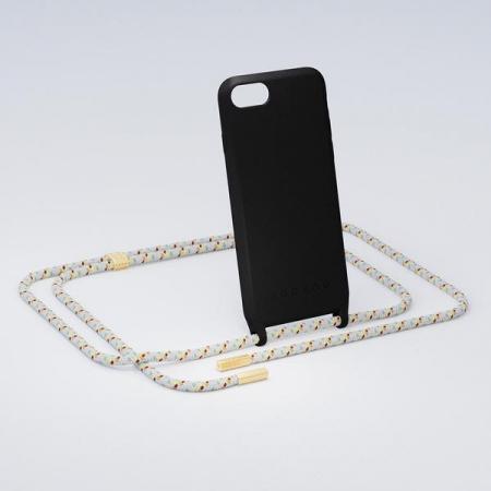 Zwarte rubberen telefoonhoes + cord met terrazzolook