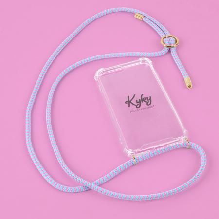Transparante telefoonhoes + blauw-roze cord