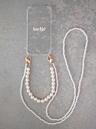 Transparante telefoonhoes + dubbele cord met parels