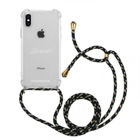 Transparante telefoonhoes + zwarte cord met camouflageprint