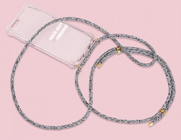 Transparante telefoonhoes + zwart-grijs cord