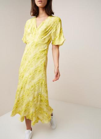 Gele maxi-jurk met slangendessin en korte mouwen