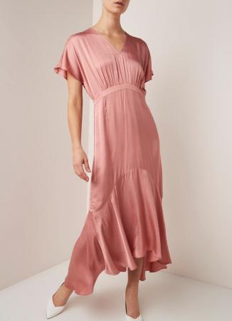 Oudroze maxi-jurk in satijn