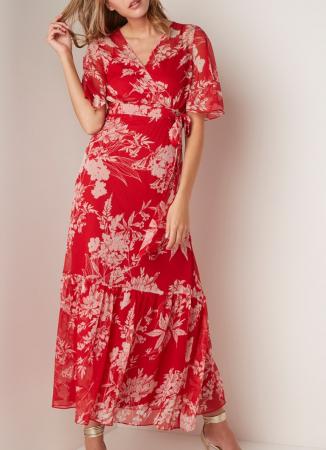 Rode wikkeljurk met bloemenprint