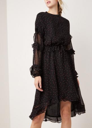 Zwarte midi-jurk uit chiffon met print en ruches