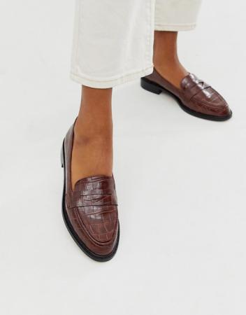 Loafers in bruin slangenleer