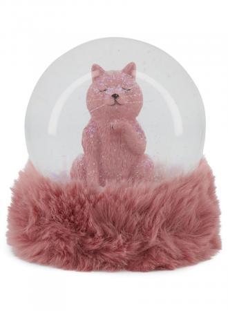 Sneeuwbol met roze kat