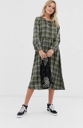 Midi-jurk met ruitjes