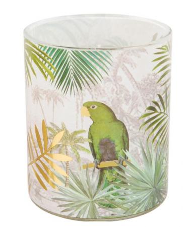 Kaars in glas met tropische print