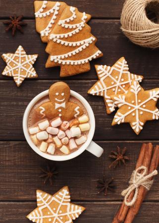 Chocolademelk met speculaas en minimarshmallows