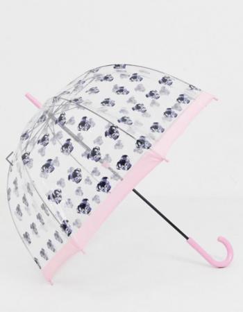Transparante paraplu met mopshondjes