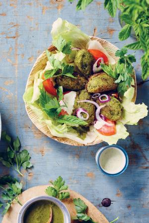 Falafel met groene kruiden