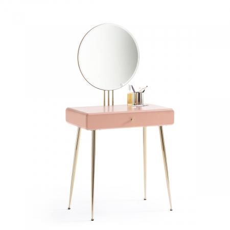 Roze make-uptafel met spiegel