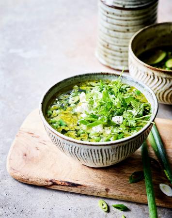 Groene minestrone met feta (20 min.)
