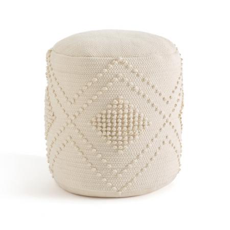Cilindervormige poef in ecru
