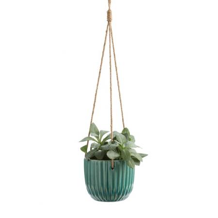 Hangende bloempot in turquoise