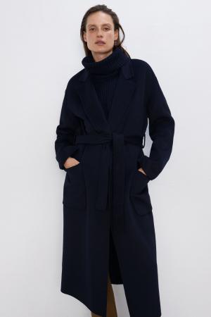 Manteau à ceinture bleu marine