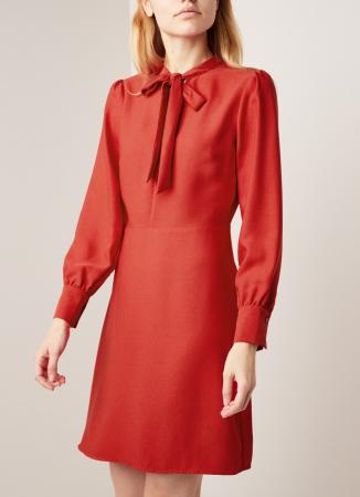 Ride mini-jurk met strikkraag en pofmouwen